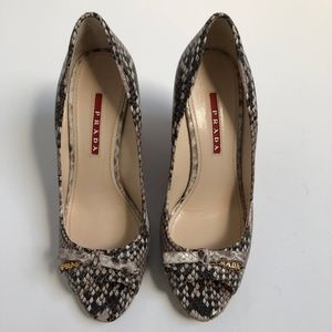 Leather Prada Snakeskin Wedges EU 36.5